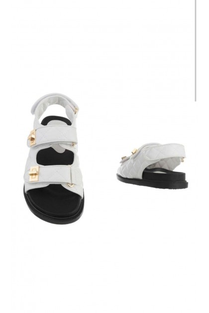 Women's White and Black Sandals
