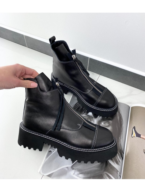 Women's Leather Black Boots On A High Sole