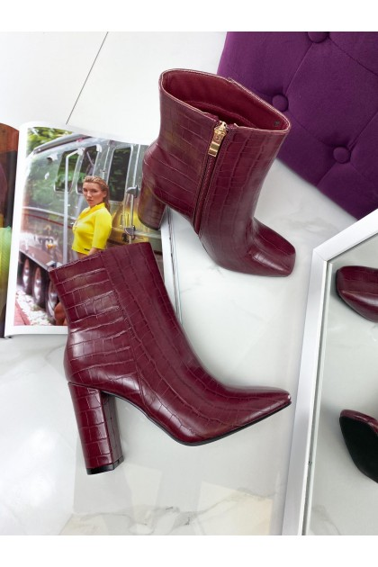 Women's Red Reptile Boots On High Heel