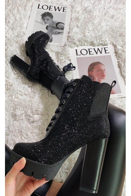 Women's Black Boots On High Heel With Gems