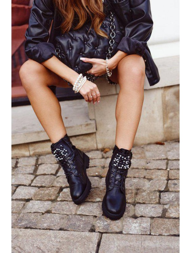 Women's Black Boots With Black and Silver Gems