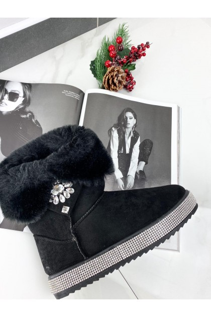 Women's Black Show Boots With Gems