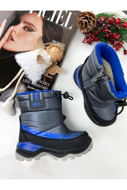 Children's Grey and Dark Blue Snow Boots