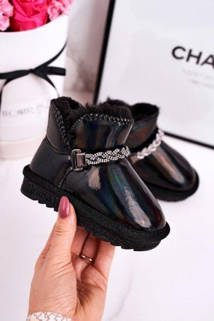 Children's Black Snow Boots With Gems