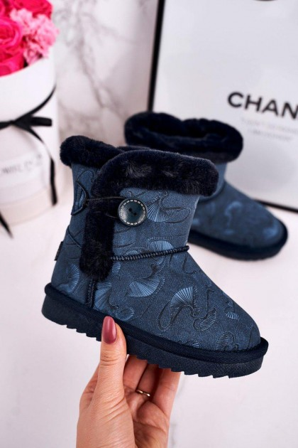 Children's Dark Blue Snow Boots With Button