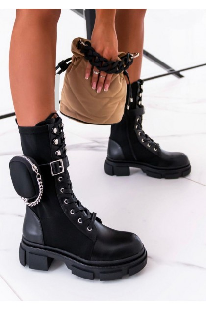 Women's Black Boots With Small Bag