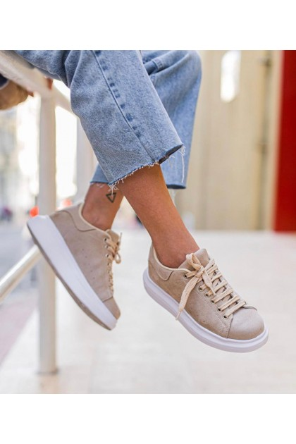 Women' Beige and White Sport Shoes