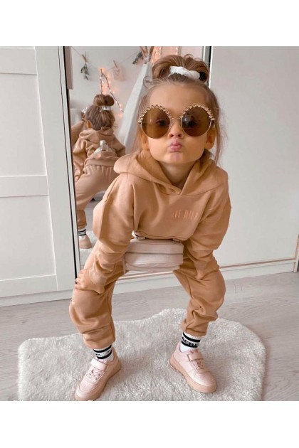 Children's Beige Sports Suit I Love Milk