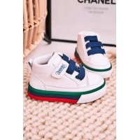 Children's White and Blue Shoes
