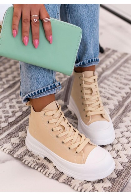 Women's Beige and White Sneakers