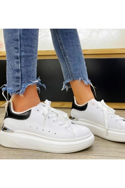 Women's White and Black Sport Shoes