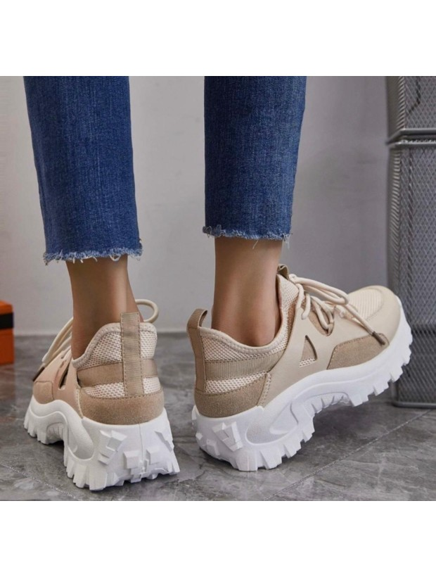 Women's Beige and White Sport Shoes