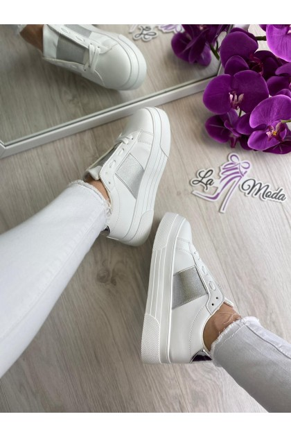 Women's White and Silver Shoes