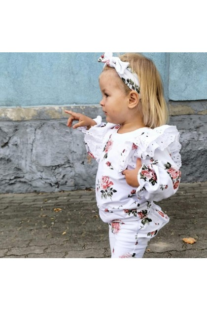 Children's White Suit With Flowers