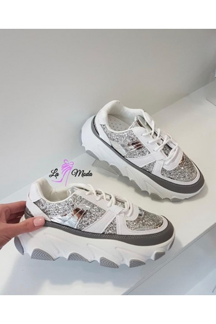Women's White and Silver Sport Shoes