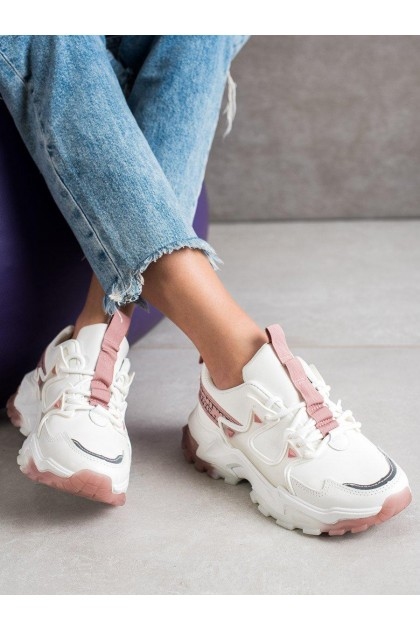 Women's White and Pink Sport Shoes