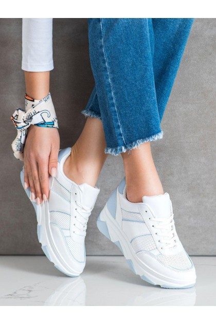 Women's White and Blue Sport Shoes