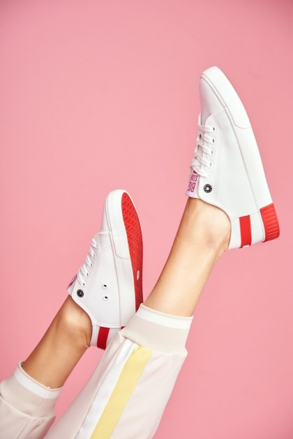 Women's Leather Sneakers BIG STAR FF274174 White Red