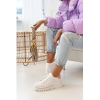 Women's Sneakers On A Chunky Sole White Pink Riri