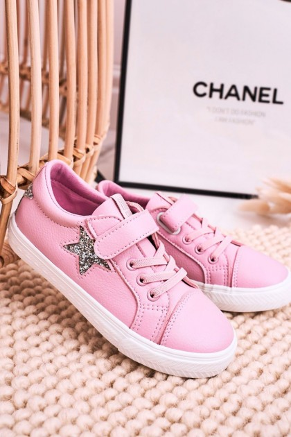 Children's Leather Sneakers With A Star BIG STAR DD374104 Pink