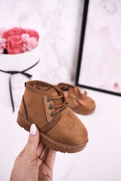 Children's Lace-up Snow Boots Insulated With Fur Brown Hunter