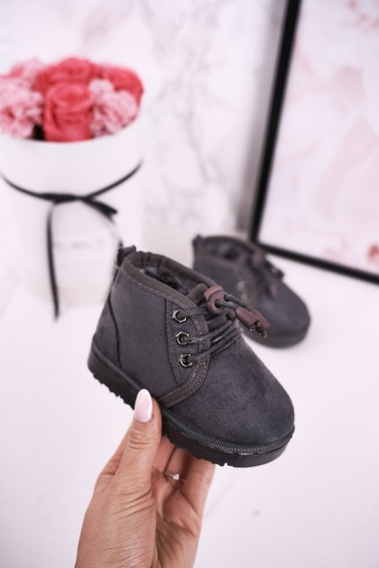 Children's Lace-up Snow Boots Insulated With Fur Grey Hunter