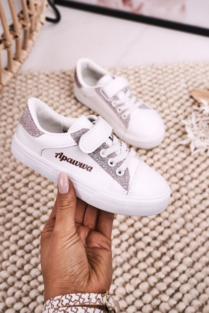 Children's Sneakers With Glitter White Pink Camila