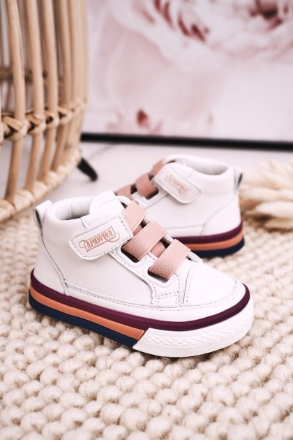 Children's High Sneakers With Welt White Pink Baxter