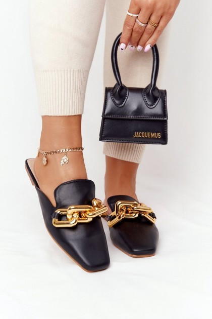 Women's Slippers With Chain Black Call On Me