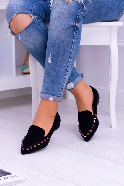 Lu Boo Black Lords Iridescent Jets Suede Studs