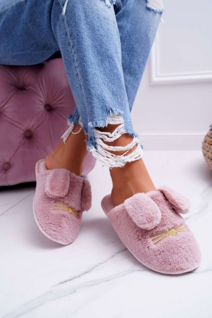 Women's Slippers With Fur And Ears Dark Pink Semmi