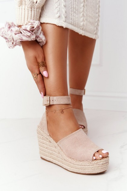 Wedge Sandals With Braids Beige Makenna