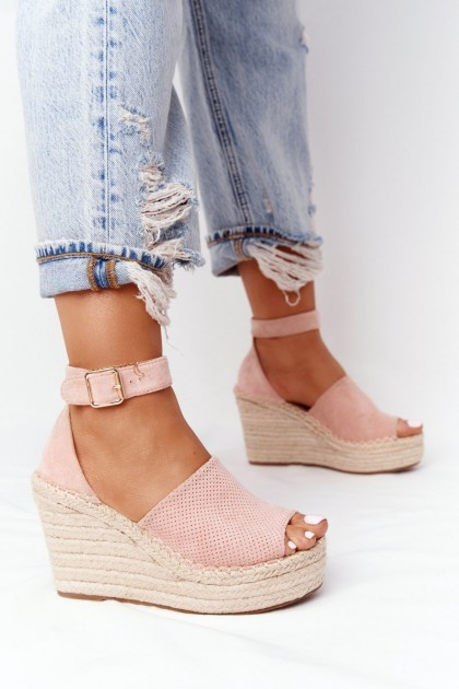 Wedge Sandals With Braids Light Pink Makenna