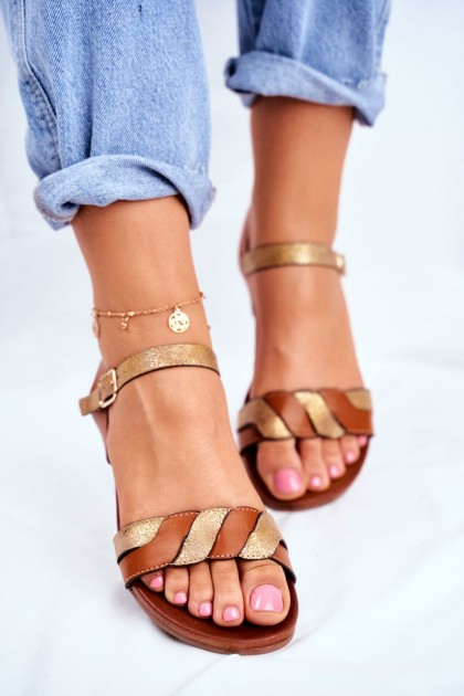 Leather Flat Sandals S.Barski Brown-Gold